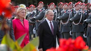 Rusya Devlet Başkanı Vladimir Putin ve Avusturya Dışişleri Bakanı Karin Kneissl