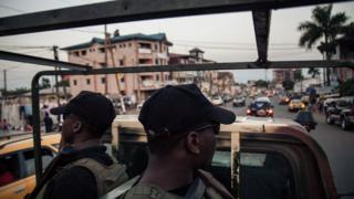 Soldiers of the 21st Motorized Infantry Brigade patrol in the streets of Buea, South-West Region of Cameroon on April 26, 2018.