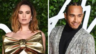 Lily James and Lewis Hamilton