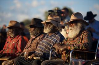 Aboriginal elders at the opening ceremony of a summit at Uluru