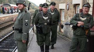 World War Two re-enactors dressed as a German soldiers