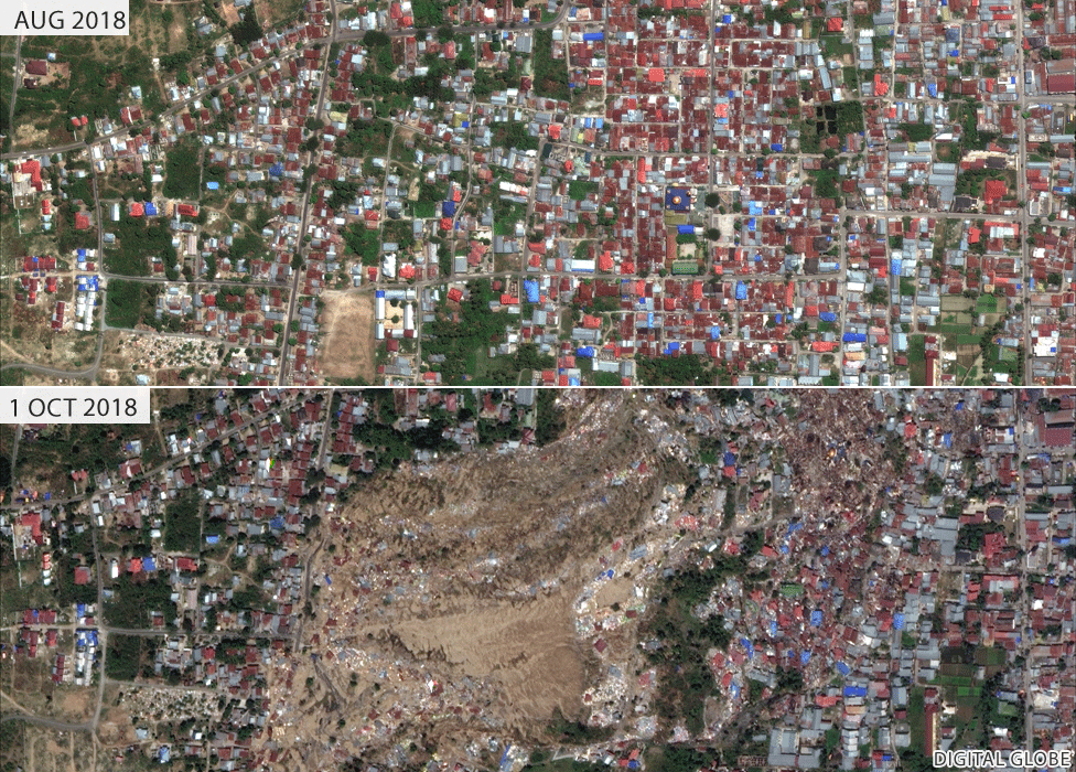Images showing neighbourhood of Balaroa before and after mud inundation
