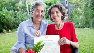 Jill Kindt and Jo Grant with their marriage certificate