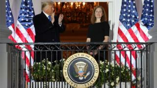 President Donald Trump and Justice Amy Coney Barrett at the White House, 26 October 2020