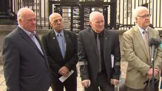 Surviving members of the Hooded Men pictured outside the court