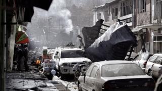 Следы взрыва в Кабуле