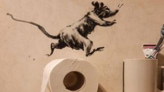 Rat running above a roll of toilet paper