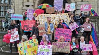 Strippers and protesters marched from the Brown Street club to Sheffield Town Hall