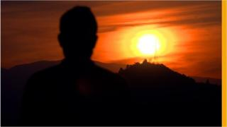 """""""Akram"""" looking into the sunset"""