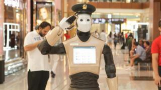 Dubai Police's first robot officer goes on duty in a mall