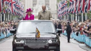 The Queen and Prince Philip on The Mall in London