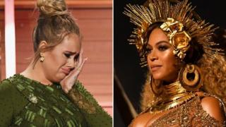 Adele and Beyonce at the Grammys