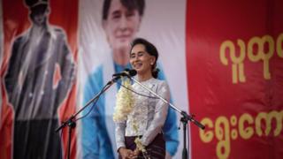 Aung San Suu Kyi speaks at a voter education rally on 21 August in Yangon, Myanmar