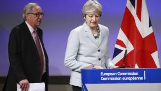Theresa May and Jean-Claude Juncker at press conference