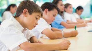 Children taking test