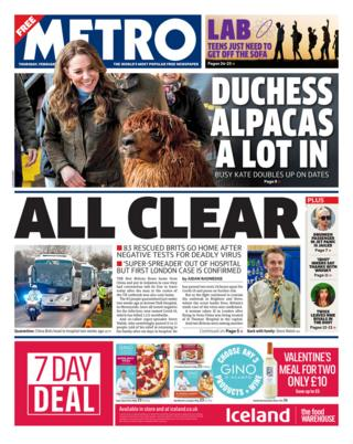 Front page of the Metro