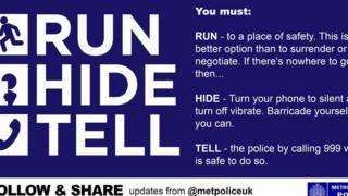 """Полиция Лондона опубликовала в """"Твиттере"""" призыв в к жителям города """"Бегите, прячьтесь, звоните"""""""