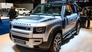 A new Land Rover Defender 110 off-road 4x4 vehicle on display at Brussels Expo
