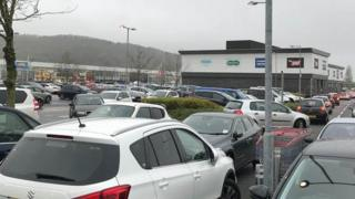 Gridlock at a retail park in Leckwith, Vale of Glamorgan