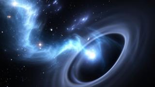 Estrela caindo dentro de um buraco negro