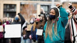 Minneapolis students demonstrate during closing statements in trial