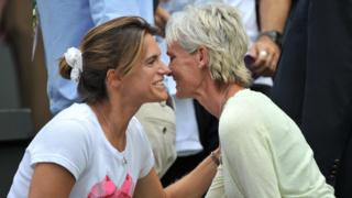 Coach Amelie Mauresmo and Judy Murray