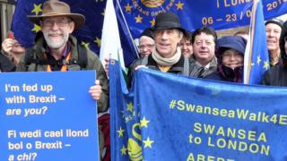 Members of Swansea 4 Europe gathered in Swansea on 6 March to see off Ed Sides and his wife on their walk to London
