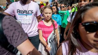 Climate activist Greta Thunberg at a climate march