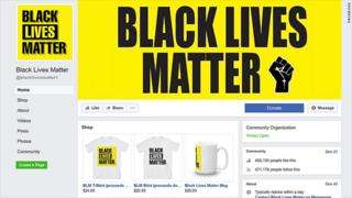 Screengrab of suspended Black Lives Matter facebook page