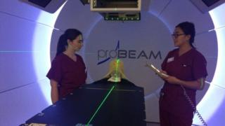 Proton beam therapy equipment at The Christie