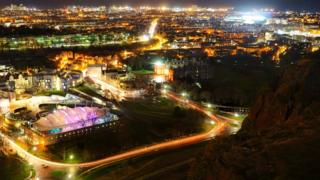 Bird's eye view of Salisbury Crags of Dynamic Earth, the parliament and Easter Road stadium