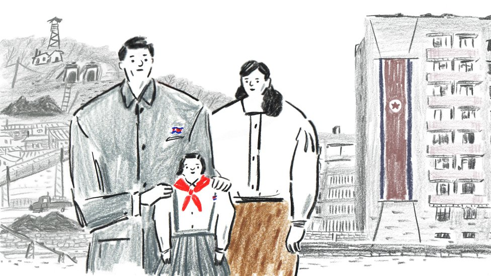 Drawing of a North Korean family