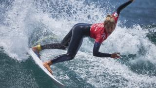 Dakar, Senegal, 30 March - Spain's Nadia Erostarbe competes in the women's final during the final day of the World Surf League - Senegal Pro at Surfers Paradise beach.