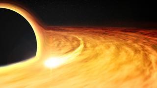 Impressão artística de um buraco negro com um raio X ao redor, que permite que sua taxa de rotação seja estimada
