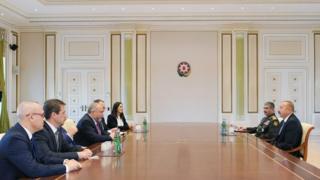 Встреча президента Алиева и министра обороны Гасанова с израильским министром Либерманом