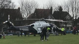 Air ambulance at the scene in Margate