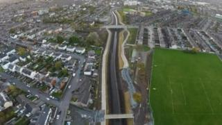 Aerial view of the Connswater Greenway, a 9km linear park through east Belfast