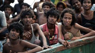 Rohingya refugees on a boat off Thailand in 2015