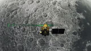 Una imagen distribuida por la agencia ISRO durante el descenso de la nave Vikram a la Luna