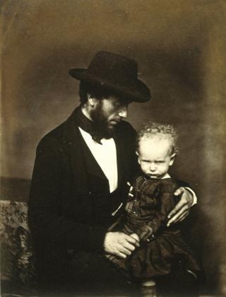 Unknown man and child, circa 1855.
