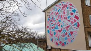 eL Seed's mural in Arbury Court