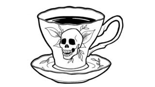Taza de café con calavera