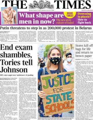 The Times front page 17 August 2020