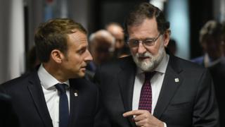 西班牙首相拉霍和法國總統馬克龍