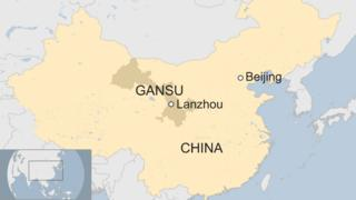 A map showing Lanzhou in China