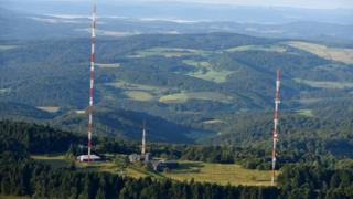 The accident is thought to have happened on the tallest radio mast at the Hoher Meissner transmitter (file pic)