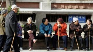 A group of elderly people in China in 2007