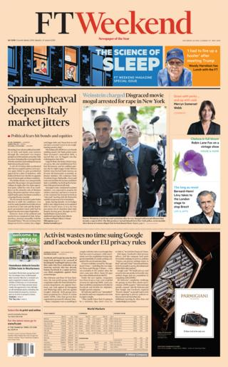 Financial Times Saturday front page