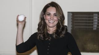 The Duchess of Cambridge throws a mock snowball