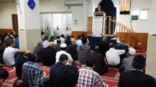 Worshippers at the Parramatta mosque